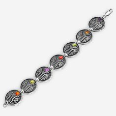 Ethnic Cactus Bracelet in Blackened Sterling Silver with Amethyst, Citrine, Peridot, Garnet and Topaz