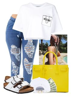 """Future Baby Mama- Jaquees"" by ssophiiia ❤ liked on Polyvore featuring Yves Saint Laurent, Moschino and Birkenstock"