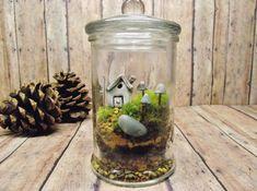 Miniature Lanscape Live Moss Terrarium with Tiny Raku fired house Glow in the Dark mushrooms and tiny lantern- Handmade By Gypsy Raku on Etsy, $35.00
