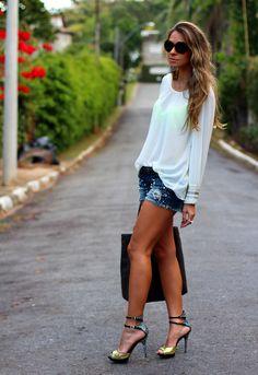 Look do dia com shorts jeans | Decor e Salto Alto - Blog de Moda ...