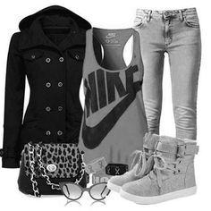 conjuntos de ropa de moda en color gris