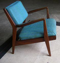 Jens Risom Mid Century Teak Lounge Chair