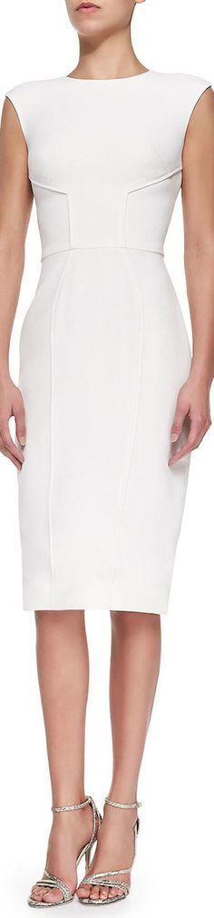 Zac Posen Princess Seamed Fitted Dress, shown in Magnolia