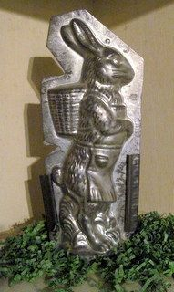 """Old 12"""" Easter Rabbit Tin Chocolate Mold Girl Dressed in an Apron"""