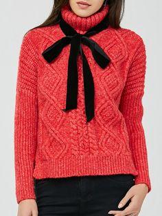 Turtleneck Slit Knit Pullover Sweater