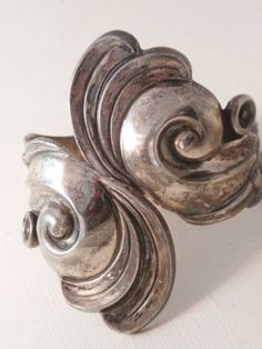 Vtg Lopez Taxco Repousse Clamper Cuff Bracelet Mexico Mexican Sterling Silver | eBay