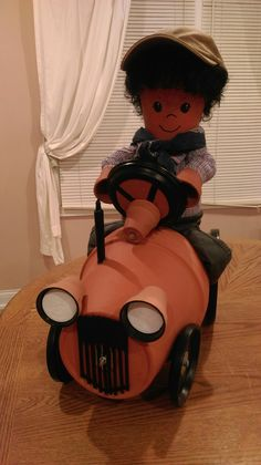 Clay Pot Farmer on a Tractor. I enjoy making clay pot characters. Betty Holbrook. 2017