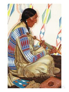 Portrait of Sundance, a Blackfeet Chief, by Winold Reiss n.d. Poster by Lantern Press at AllPosters.com