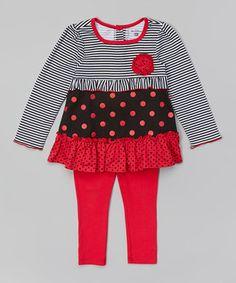 Look at this #zulilyfind! Fuchsia Stripe Tunic & Leggings - Infant, Toddler & Girls by Kids Headquarters #zulilyfinds