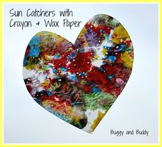 Verdict:  Crayon Shavings EVERYWHERE - but the kids had fun.    Sun Catchers with Crayon and Wax Paper