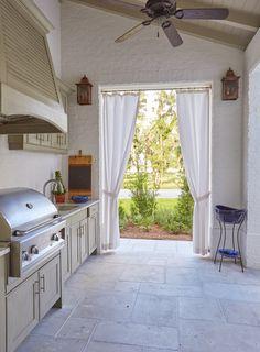 Outdoor Kitchen | Covered Patio | Outdoor TV Box | Painted Ceiling | White Painted Brick | Coastal | Interior Design | Designer: Susan Lovelace | Lovelace Interiors | 30A Interior Designer