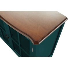 Teal 1-Door Cabinet Wood Furniture Storage Living Room Glass Painted Walnut Top #10SpringStreetHinsdale #Modern