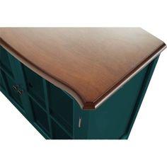 Teal 1-Door Cabinet Wood Furniture Storage Living Room Glass Painted Walnut Top #10SpringStreetHinsdale #Modern