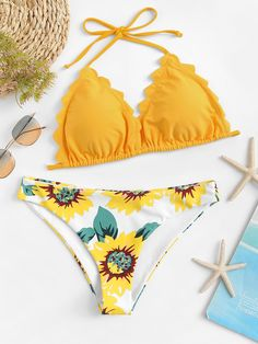 Shop Scallop Edge Halter Top With Floral Bikini Set online. SHEIN offers Scallop Edge Halter Top With Floral Bikini Set & more to fit your fashionable needs. Trendy Bikinis, Cute Bikinis, Cute Swimsuits, Summer Bathing Suits, Cute Bathing Suits, Floral Bikini Set, Estilo Hippie, Bikini Ready, Beachwear For Women
