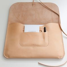 "Kenton Sorensen Laptop Portfolio, Natural Leather, for 13"" laptops"
