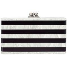 Edie Parker Black & White Stripe Jean Clutch ($1,195) ❤ liked on Polyvore featuring bags, handbags, clutches, purses, bolsas, edie parker, kisslock purse, kiss lock purse, stripe handbag and white clutches