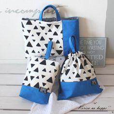男の子用通園バッグです。鮮やかなブルーとトライアングル(三角)柄のバッグです。