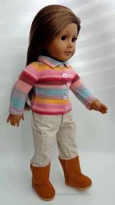 Hand Knitted 18 Inch American Girl Clothing: Striped Shirt