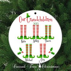 Our Grandchildren Personalized Christmas Ornament by CasualTeeCo, $10.00