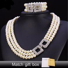 Rhinestone Wedding Simulated Pearl Jewelry Set