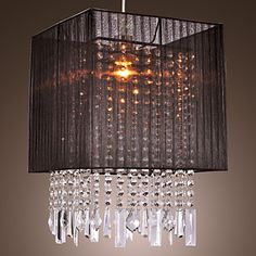Stylish Pendant Light with Black Fabric Shade – USD $ 119.99
