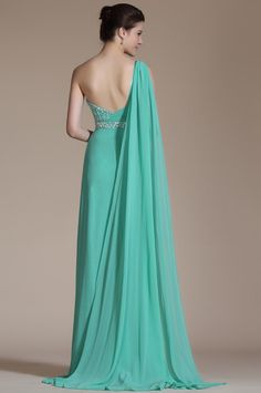 New Turqoise One Shoulder High Split Beaded Evening by STHNAB