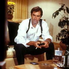 Timothy Dalton as James Bond after a hard day of espionage.