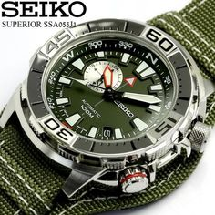 Amazon.com: SEIKO SUPERIOR Automatic Army Green Dial Mens Watch made in Japan SSA055J1: Watches