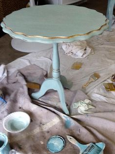Combination of Old White & Provence - Gilding Wax on the edges. Clear Wax