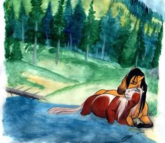 "A touching moment between Spirit and Rain from the film ""Spirit: Stallion of the Cimmaron"". This background took up so much of my time, it's not even funny. Landscapes are SO not my area. Crea..."