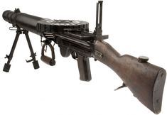 Model 1914 Lewis Gun. The Lewis was developed in the United States in 1911. At 12 kg it was far lighter than the Vickers Machine-Gun making it a lot easier to move from one position to another quickly. In 1915 the British Army decided to purchase the gun for use on the Western Front. Although a little too heavy for efficient portable use, it became the standard support weapon for the British infantry during the First World War. This example was made by the Birmingham Small Arms Factory (BSA)
