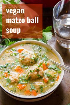 Whether you're celebrating Passover in the coming days or not, you need this vegan matzo ball soup in your life! Totally vegetarian, egg and dairy free — just all the deliciousness! Made with cozy matzo balls and veggies in scrumptious savory broth. Veggie Recipes, Whole Food Recipes, Soup Recipes, Vegetarian Recipes, Matzo Ball Recipe, Gumbo Recipes, Recipies, Party Recipes, Kitchens