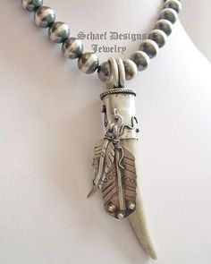 Schaef Designs Deer Antler tine & sterling silver feathers Southwestern Pendant | Schaef Designs Southwestern Basics Collection | online upscale Southwestern, Equine, Native American, & Turquoise Jewelry gallery | Schaef Designs artisan handcrafted Jewelry | New Mexico
