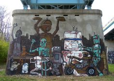 robot mural street art in west lafayette, indiana