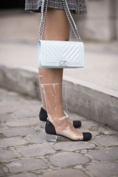 Chanel transparent boots Fall Fashion Outfits, Womens Fashion For Work, Fashion Shoes, Fashion Fashion, Fashion Women, Fashion Ideas, Transparent Boots, Chanel Boots, Zara