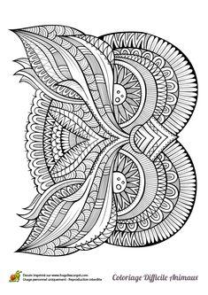 Dans ce dessin, la tête du hibou est dessinée à la manière d'un mandala avec de petits détails à colorier à l'intérieur