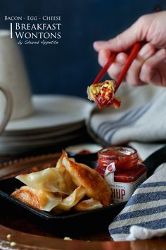 Bacon, Egg, and Cheese Breakfast Wontons