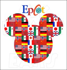 Epcot International Gateway flags Mickey head Family vacation INSTANT DOWNLOAD digital clip art :: My Heart Has Ears
