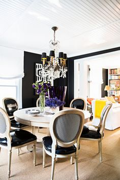 Black and white color scheme with a touch of gold. | http://domino.com