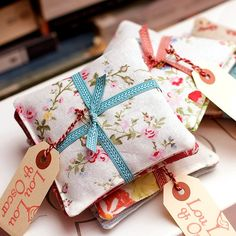 Beautiful sachets for dresser drawers.  Great as hostess gifts.