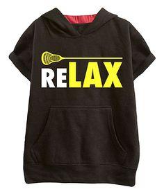 Black & Red 'ReLAX' Stick Cutoff Hoodie - Kids