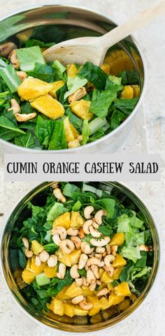 This Cumin Orange Cashew Salad is a super quick and delicious salad made with cumin roasted orange, cashews and mixed green leaves. So delicious and easy.