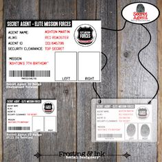Spy Party  Secet Agent Party  Customized ID by frostingandink