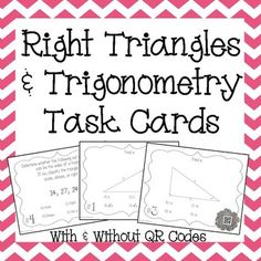 trigonometry worksheets soh cah toa trigonometry sin cos and  right triangles trigonometry task cards