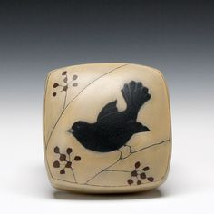 Schaller Gallery : Exhibition : Donna Polseno : Bird Box. I think this is carved bone.  Could I replicate in ivory clay?