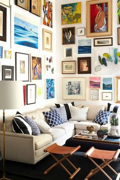 Gretchen says: Nice balance in the pops of color! The pillows in one color do not compete with the wall but allow it to be a feature.