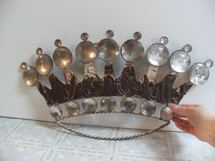 Large French Crown with Antique 1910s embossed Tin. Gorgeous