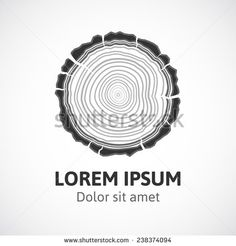 Tree growth rings logo icon, vector tree rings background and saw cut tree trunk. Logo template. Corporate icon. Brand visualization. Eco, bio, organic, natural concept.