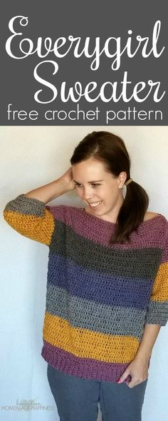This comfy, easy to make sweater is the perfection addition to your fall wardrobe. I used 2 Caron Cakes to make this sweater. When picking out my skeins, I made sure to find ones that had the same starting color so the stripes on the front and back out (almost) match up. This pattern is available … #CrochetChalecos