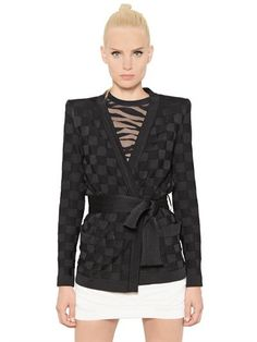 BALMAIN - CHECKERED VISCOSE JACQUARD JACKET - LUISAVIAROMA - LUXURY SHOPPING WORLDWIDE SHIPPING - FLORENCE